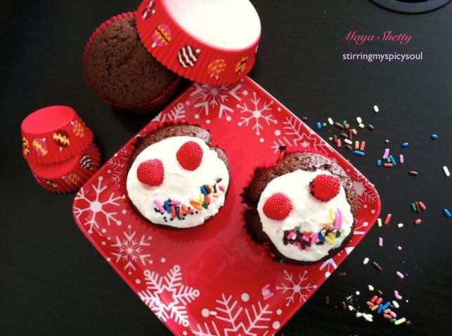 Chocolate Fudge Snowmen Cupcake
