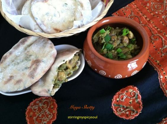 Methi Pita bread with Avocado Mushroom Filling