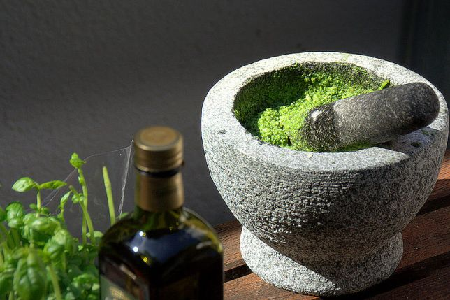 Mortar & Pestle used to make Pesto Picture courtesy : from the net
