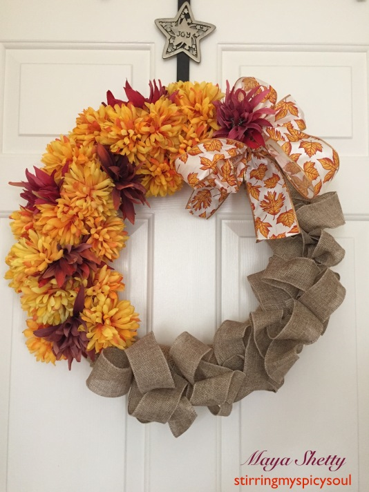 Fall Burlap & Flower Wreath